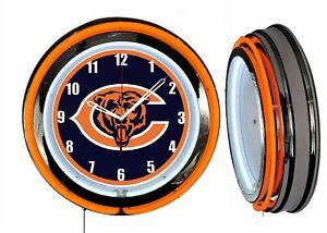 "Chicago Bears 19"" Orange Neon Clock Man Cave Game Room Garage Bar Football"