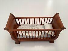 Dollhouse Miniatures Furniture New Walnut Baby Crib, Cradle, Juvenile bed