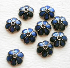 10pcs-9mmX9mm enamel blue beads cap, flower bead cap,