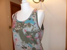 Joe Browns vest top size 12 14 khaki pink turqouise NWOT