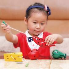 New listing Wooden Math Toys Threading Wire Cheese Kids Early Educational Montessori Toy Oo