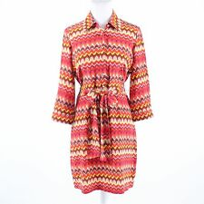 Orange yellow geometric BETH ROWLEY button chest 3/4 sleeve shirt dress 6