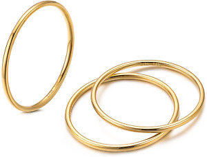 1Mm 14K Gold Filled Rings Stacking Rings For Women Stackable Thin Band Knuckle F