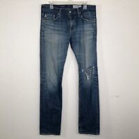 "Adriano Goldschmied Men 32 AG Matchbox Slim Straight Jeans Inseam 33"" Distressed"