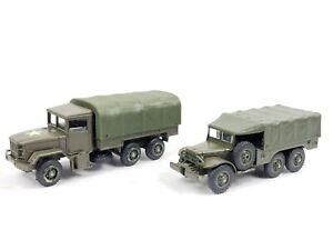 2x Vintage SOLIDO 245 Kaiser Jeep M34 6x6 & 242 Dodge 6x6 Military Vehicle VGC