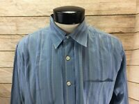 Lucky Brand Button Front Shirt Men's L Blue with Stripes