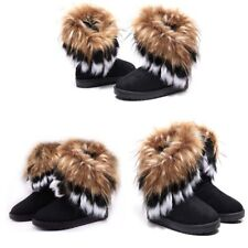 Black US6.5 Womens Faux Fur Lined Winter Warm Ankle Snow Boots Casual Flat Shoes