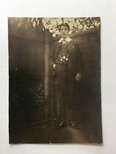 Vintage Real Photograph #AB - Younger Man In Garden Chain Fobs