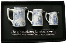 Set of 3 toille de jouy mini farmhouse jugs in gift tray