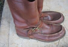 Vintage Russell Moccasin 6 1/2 D Pull ON Boots USA w ZIPPER back zip BROWN MENS