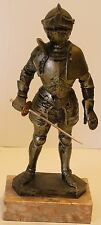 """Depose Italy 90 Medieval Knight 8 1/2"""" Statue w/Sword Figurine Marble Base"""