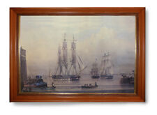 A LARGE (26 x37ins) FRAMED PICTURE OF TALL SHIPS IN HARBOUR