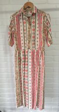 Vintage Lucia Darling Dress Geometric Print Midi / Maxi Style 80's 90's Size 10