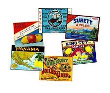 Fruit Crate Label Stickers Set, 6 Kitchen Label REPRODUCTIONS, Vintage Label Art