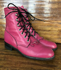 Womens Justin Western Lace Up Boots Pink Leather Size 6.5 B