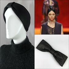 NEW Hermes Black Leather Knotted Bow Headband Campaign Turban Hair Accessories