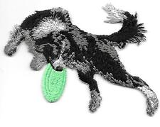"""2 1/2"""" x 3 3/8"""" Border Collie Dog Breed Catching Frisbee Embroidered Patch"""