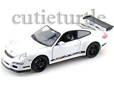 "4.5"" Welly Porsche 911 997 GT3 RS 1:32 Diecast Toy Car White With Black Wheels"