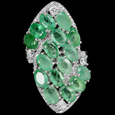 NATURAL COLUMBIAN GREEN EMERALD & WHITE CZ STERLING 925 SILVER RING SIZE 7.75
