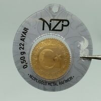 0,50 1/2 gram gold bar 22K NZP Gold Refinery ,916 Fine Solid gold Coin gift sizE