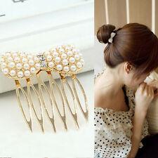 Women Pearl Bow Hair Comb Head Chain Jewelry Headband Head Piece Hair band Gift