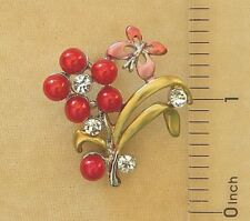 Bright Silver Clear Crystal Rhinestone Pink Pearl Butterfly Flower Pin Brooch