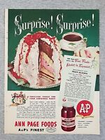 1949 Magazine Advertisement Page A&P Ann Page Foods Fruit Preserves Cake Food Ad