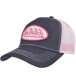 Von Dutch Mens Patch Logo Adjustable Snapback Trucker Cap Hat - Denim/Pink/White