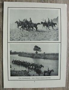 Blatt 1914-18 Ulanen Patrouille Fluss durchfurten Uniform Helm Lanzen Pferd 1.WK