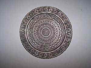 Vintage Antique Persian Islamic Heavily Etched Tin on Copper scalloped Tray