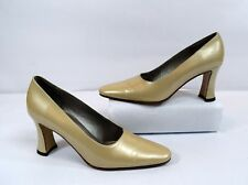Saks Fifth Avenue Vintage Beige Leather Minimalist Pump Heels Size 6B