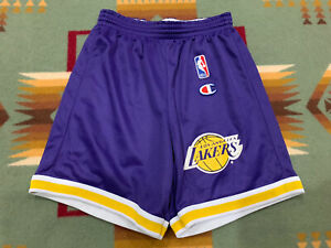 VNTG🔥 Champion NBA Los Angeles Lakers Shorts Kids 10-12 Sz M Gold Kobe Shaq