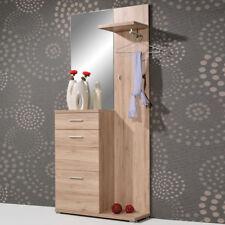 Kompakt- Garderobe mit Spiegel Garderoben Set Flur modern 91x200x32 braun Eiche