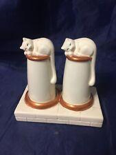 Rare 1984 John Beswick Cruet Set Cats On Chimney Pots Milk Bottles Salt Pepper