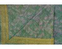 Indien Vintage Vert Saree Pure Soie Imprimé Artisanat Décor Tissu Sari Artisanat