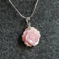 Mother Pearl Shell Rose Pink Flower 925 Sterling Silver Necklace Vintage Retro