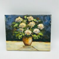 Yellow Flowers in Vase Still Life Painting Cottage Core Impressionist Style