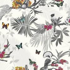 TROPICAL BIRDS MYSTICAL FOREST WHITE SPARKLING QUALITY ARTHOUSE WALLPAPER 664802