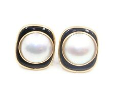 Mabe White Pearl Earrings with Black Onyx and 14k Yellow Gold Post & Push Backs