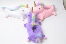 Premium Quality Plush Unicorn Indoor Slippers Soft Kids Girls Womens Children UK