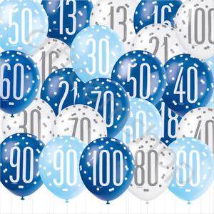 Blue Boys Age Birthday Balloons 16th 18th 21st 30th 40th Birthday Party Decor x6