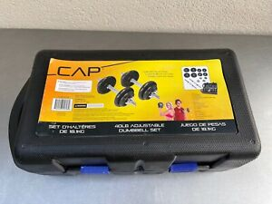 NEW CAP ADJUSTABLE Cast Iron DUMBBELL 40LB SETS - With Carry Case