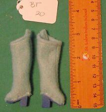 Light Blue Felt Boots with Royal Blue Heels & Soles for Regular Barbie Doll Bt20