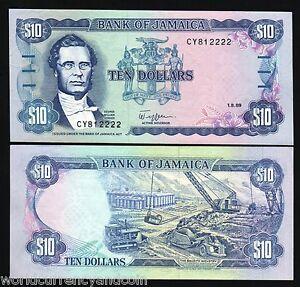 JAMAICA 10 DOLLARS P71 1989 BAUXITE MINING UNC PAPER MONEY X 10 PCS LOT BANKNOTE