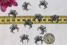 10pcs/17mm Zinc Alloy Pentant,Charm, Silver Color Halloween Spider Charms