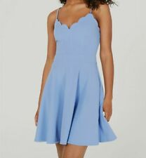 New $270 B. Darlin Juniors' Blue Scalloped V-neck Fit & Flare Dress Size 7/8