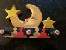 Hand Carved Wood Wall Peg Hook Moon and Stars Handmade Indonesia