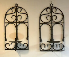 "Pair Of Wrought Iron Wall Scones Hanging Candle Holder Good Condition 18"" Tall"