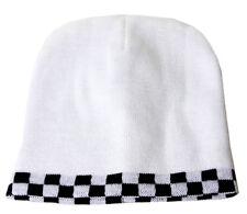 Knit Checker Beanie Cap - White / Black