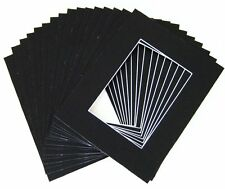 Pack of 50 8x10 BLACK Picture Mats with WhiteCore for 5x7 + Backing + Bags